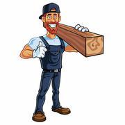 Carpenter Cartoon Mascot Vector Illustration Stock Illustration