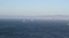 Alcatraz Prison sail boats Cali Stock Footage