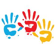 Kid Playful Hand Prints Vector Art Stock Illustration