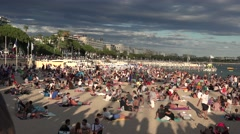 Cannes beachfront, represents best urban beaches of Europe.ultra hd 4k, Stock Footage