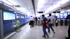 Subway passengers on their way to the metro station Stock Footage