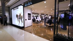 Zara store in Hong Kong mall. Stock Footage