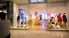 Nine West store in Hong Kong mall. Stock Footage