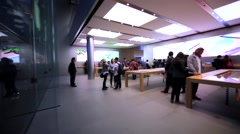 Customers inside the Apple store, the first one in Hong Kong Stock Footage