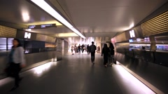 People going through the corridor in big Hong Kong shopping mall. Stock Footage
