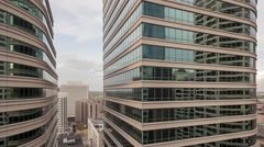 Wide Shot of Dual Highrises Stock Footage