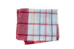 Checkered linen napkin isolated on white Stock Photos