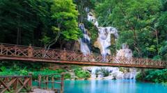 Kuang Si Waterfall Famous Landmark Nature Travel  Place Of Luang Prabang, Laos - stock footage