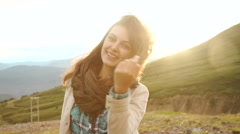 Portrait of a beautiful young woman at sunset. Close-up, shallow DOF Stock Footage