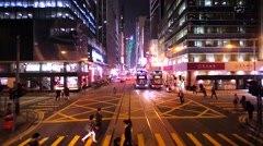 View from the second floor of Hong Kong tramway, that stays on the crossroad. Stock Footage
