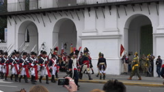 Colonial Army in the reenactment and celebration of 200 years Independence day Stock Footage