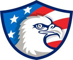 Bald Eagle Head USA Flag Shield Retro Stock Illustration