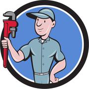 Handyman Monkey Wrench Circle Cartoon Stock Illustration