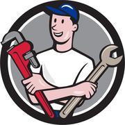 Handyman Spanner Monkey Wrench Circle Cartoon Stock Illustration