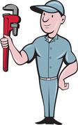 Handyman Monkey Wrench Standing Cartoon Stock Illustration