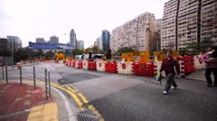 Red and white enclosure road construction, warning lights Stock Footage