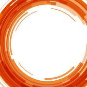 Abstract orange technology circles background - stock illustration