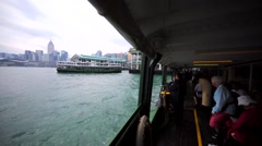 Passangers of the Hong Kong Ferry on the walking deck. Stock Footage