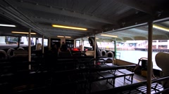 Empty Hong Kong Ferry benches and deck. Leaving the water transport. Stock Footage