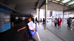 People walking along the beautiful pedestrian underpass Stock Footage