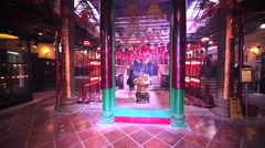 Interior of beautiful asian temple in Hong Kong. Stock Footage