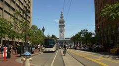 San francisco day tram traffic ferry building market street panorama 4k usa Stock Footage