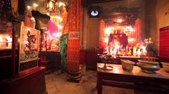 Interior of great Hong Kong temple. Stock Footage