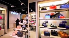 Furla store in Hong Kong mall. Stock Footage