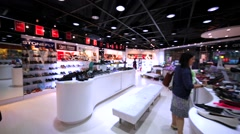 Interior of a shoe store in Hong Kong mall. Stock Footage