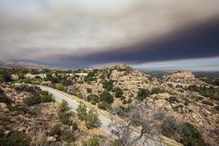 Suburban Los Angeles with Brush Fire Smoke Sky Kuvituskuvat