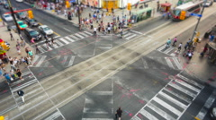 Timelapse of People and Traffic at Busy Intersection in Downtown Toronto, Canada Stock Footage