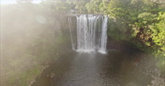 Aerial of rainbow falls in KeriKeri, Northland New Zealand Stock Footage