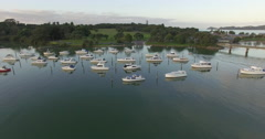 Aerial over boat coming back from fishing in Waitangi, New Zealand Stock Footage