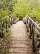 Wooden bridge in the mountains of Olympus, Greece - stock photo