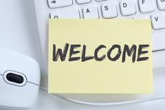 Welcome new employee colleague refugees refugee immigrants office Stock Photos