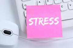 Stress stressed business concept burnout at work relaxed office Stock Photos