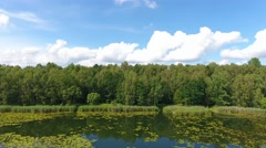 Summer time lake and green forest, white clouds over blue sky in Poland Stock Footage