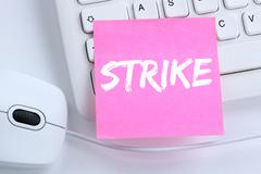Strike protest action demonstrate jobs, job employees office Stock Photos
