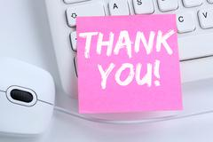 Thank you on notepaper office business concept - stock photo