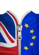 Zippered Brexit flags - stock illustration