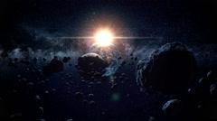 Flight through meteorites. a wonderful sunshine. space. moon Stock Footage