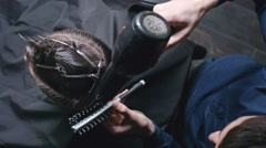 Drying Hair at Barber Stock Footage