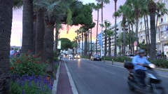 Croisette promenade in Cannes near Carlton, luxury hotel,Ultra hd 4k, real time Stock Footage