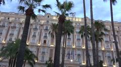 Croisette promenade in Cannes near Carlton, luxury hotel,Ultra hd 4k, real time Stock Footage