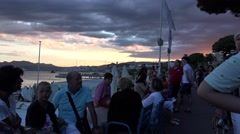 People relaxing on Croisette promenade in Cannes, France.Ultra hd 4k, real time Stock Footage