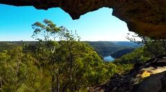 Riverview From a Cave in the Australian Bush Stock Footage