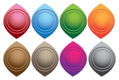 Almond Shape Round Button Design elements Stock Illustration