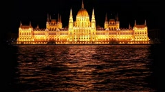 Hungarian parliament building in night Budapest Stock Footage