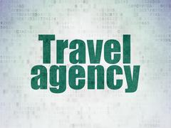 Vacation concept: Travel Agency on Digital Data Paper background Stock Illustration
