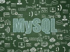 Database concept: MySQL on School board background - stock illustration
